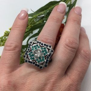 Luxury Ring, Sterling Silver, Vintage Emerald Ring